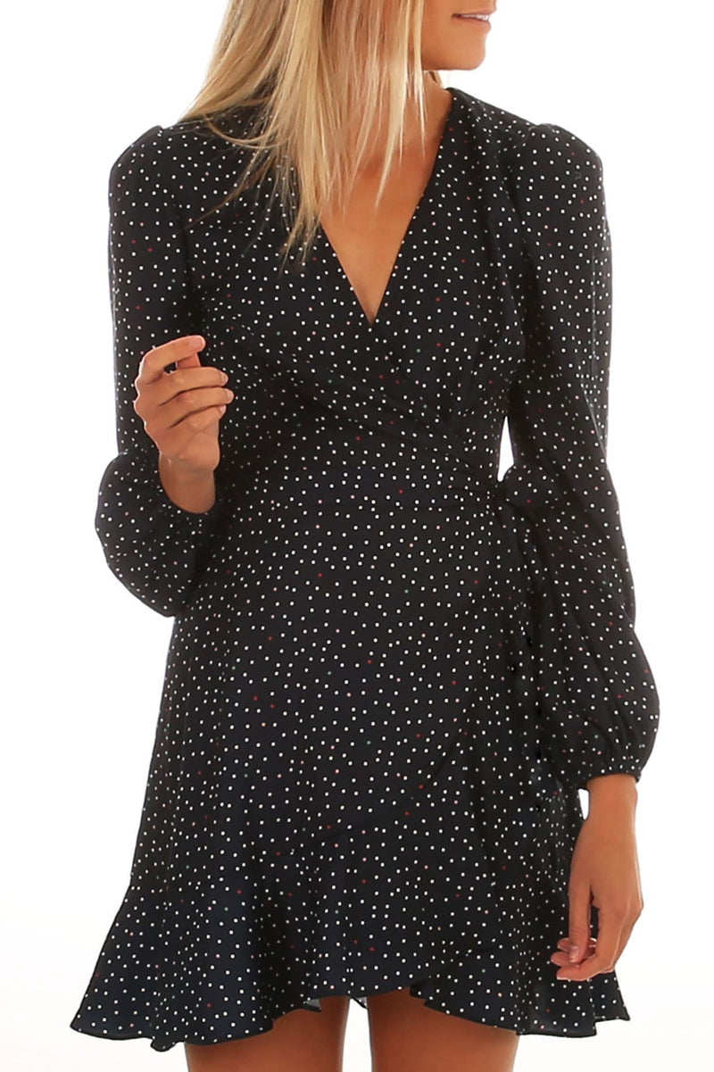 Rooftop Polka Dot Long Sleeve Dress Navy White The Fifth Label - Jean Jail