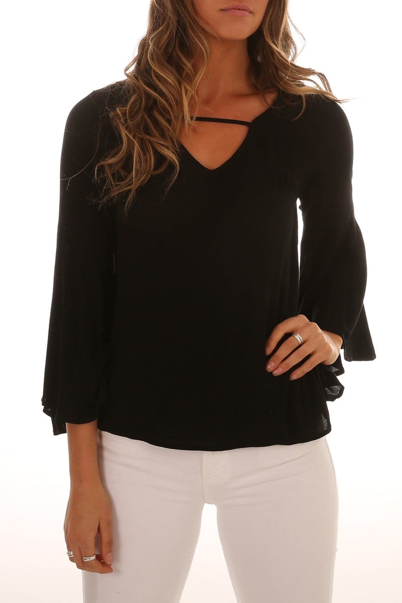 True Love Bell Blouse Black Sass - Jean Jail