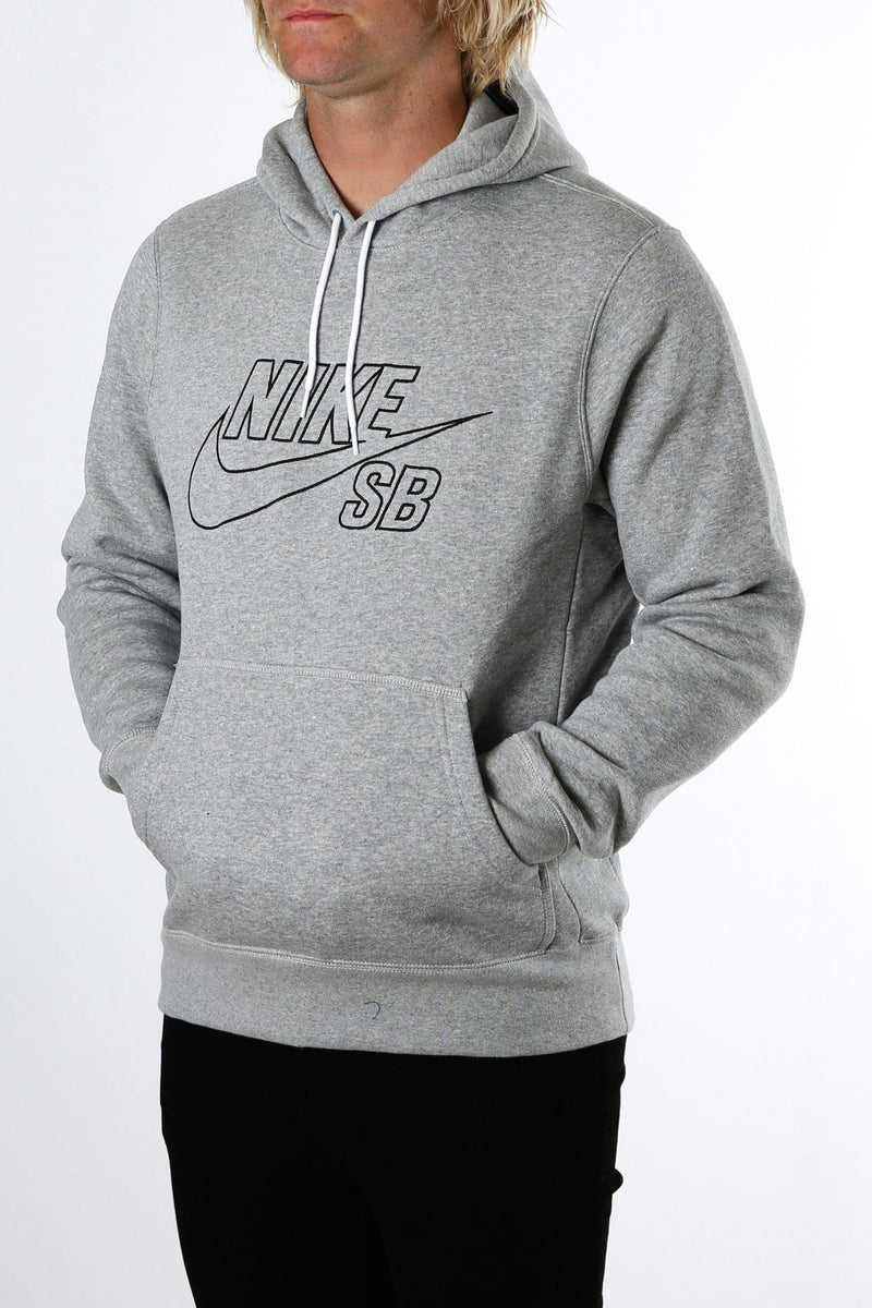 SB Pullover Hoodie Embroidery Dark Grey Heather Black