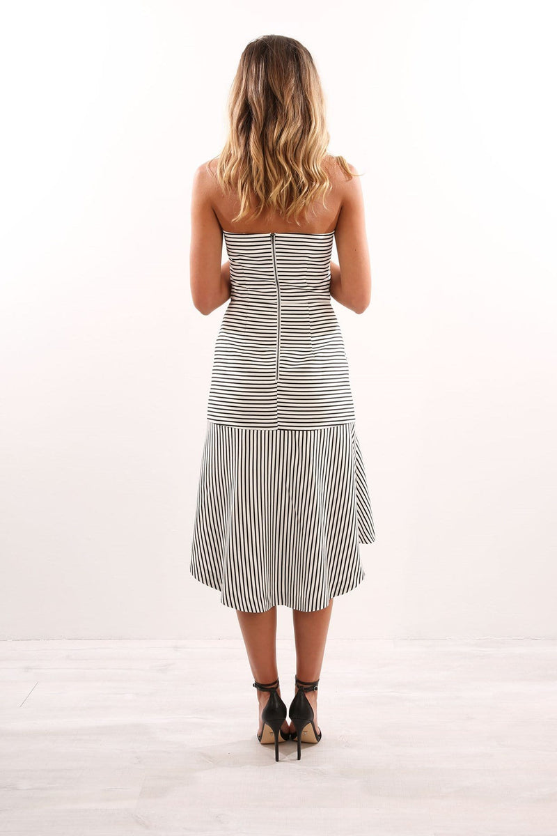 Another Time Strapless Dress White Stripe Cooper St - Jean Jail