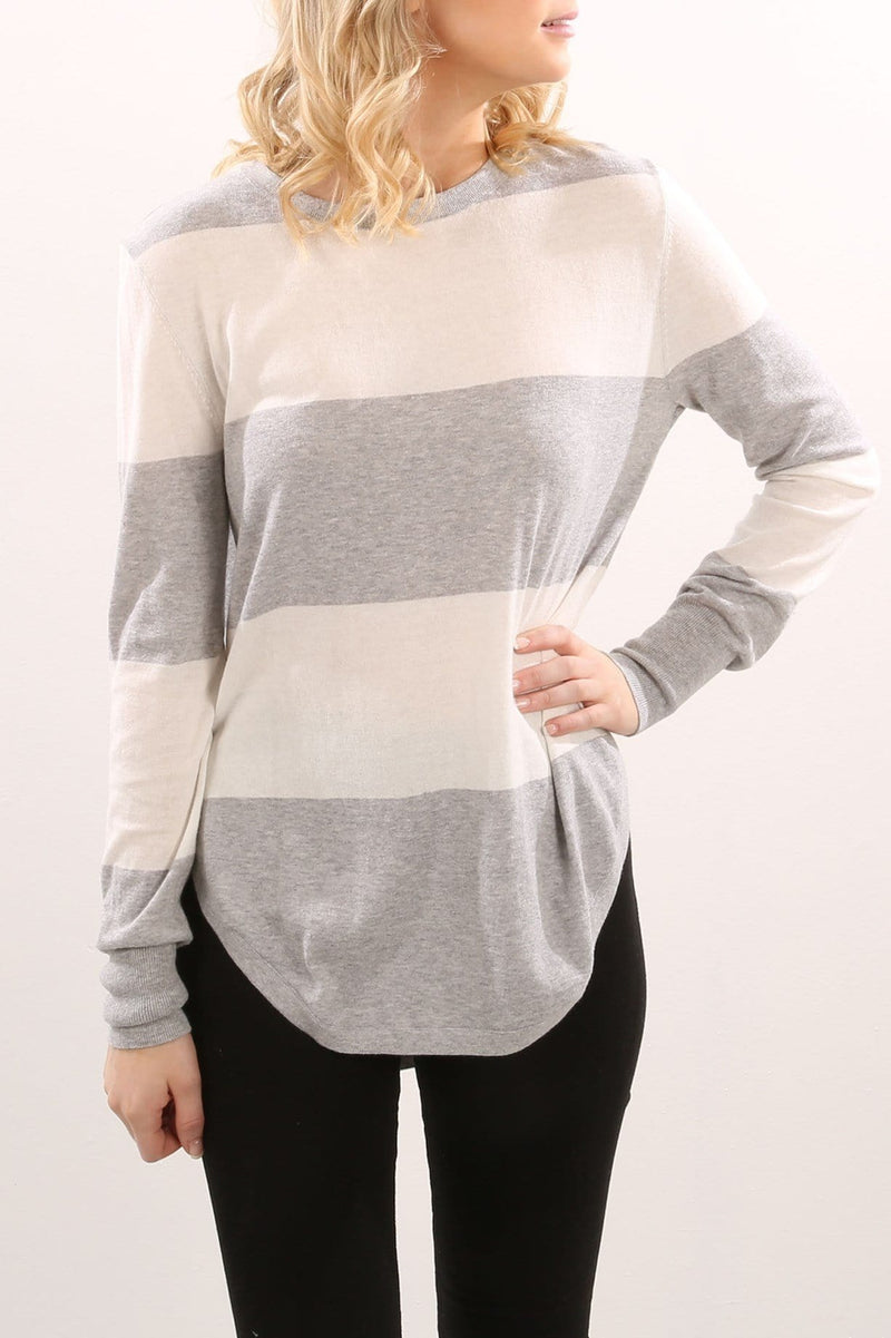 Ella Knit Grey Marle Stripe Imonni - Jean Jail