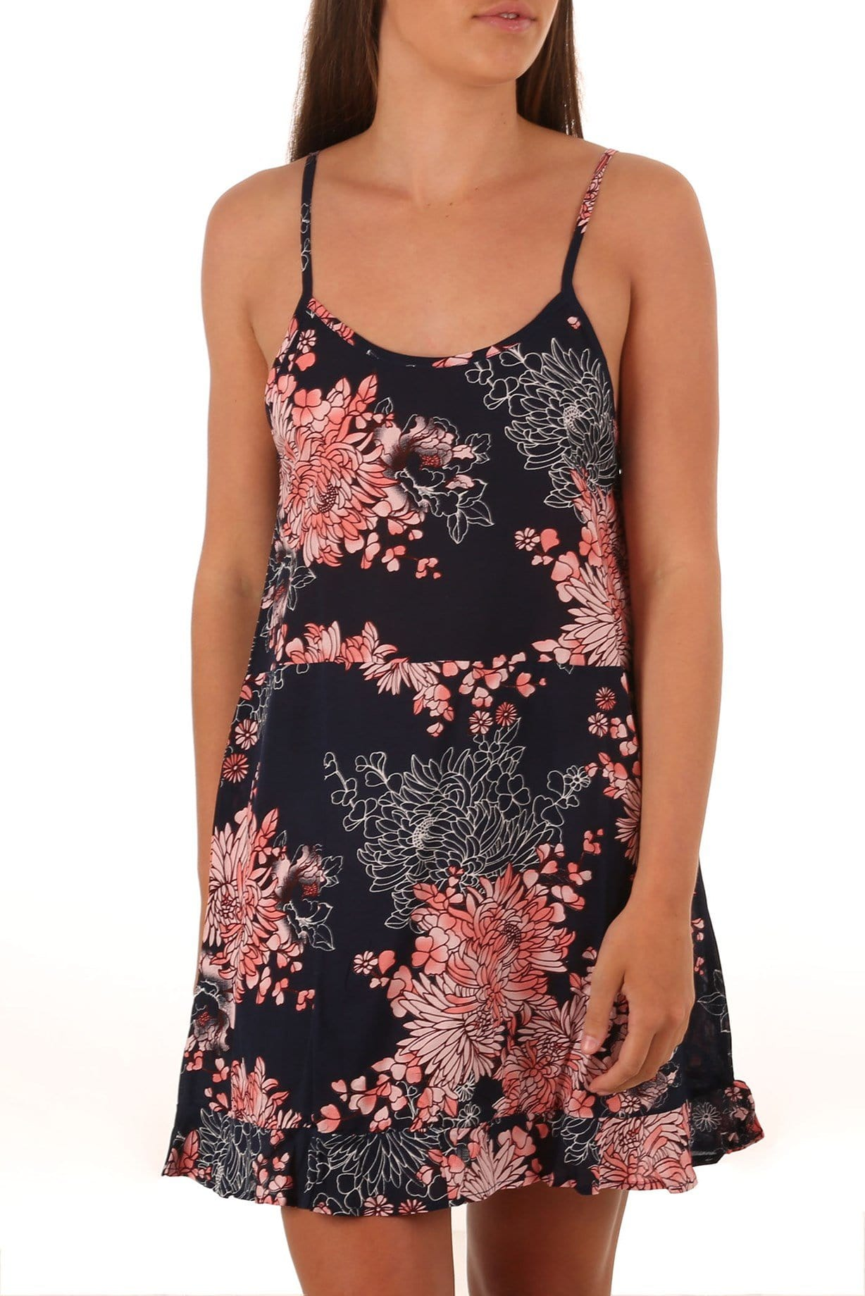 Estee Tier Singlet Dress Navy Floral