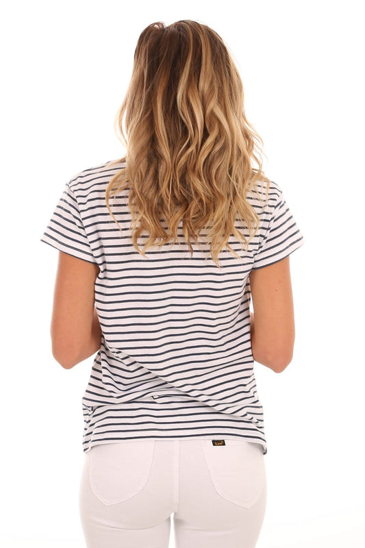 Polly Stripe Tee Ink White Stripe