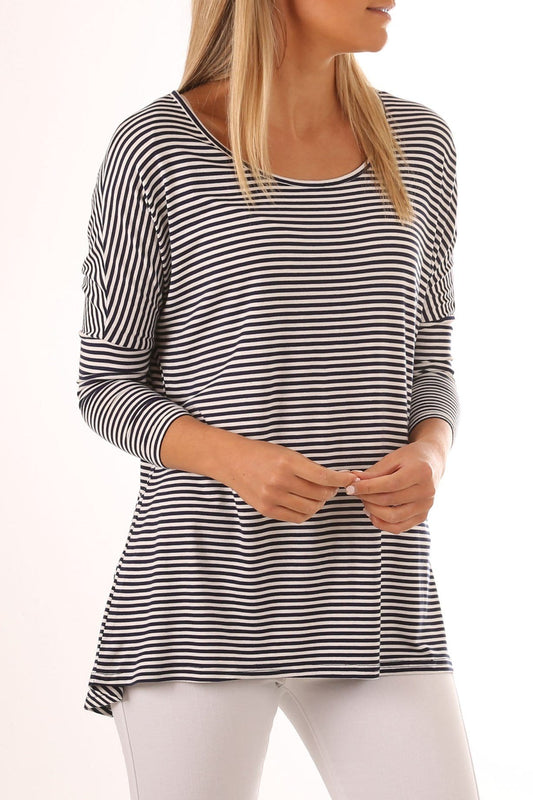 Milan 3/4 Sleeve Top Navy Blue White Stripe