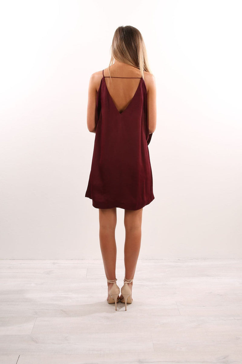 Ethereal Shift Dress Burgundy Isla - Jean Jail