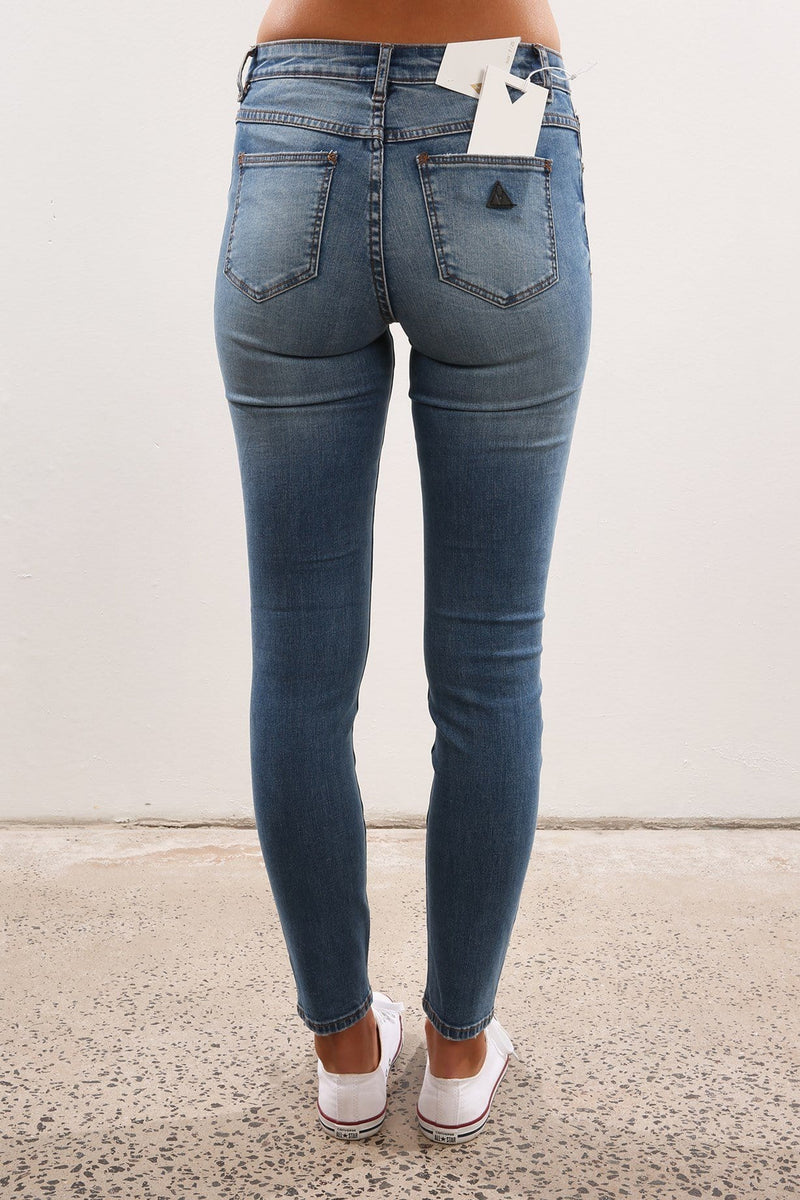 A Mid Skinny Ankle Basher Up In Blue Abrand - Jean Jail