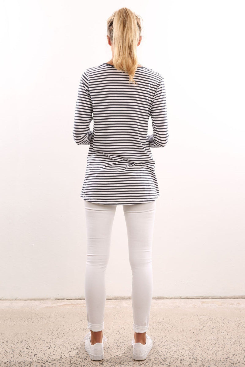 Erica Long Sleeve Tee Navy Stripe Elwood - Jean Jail