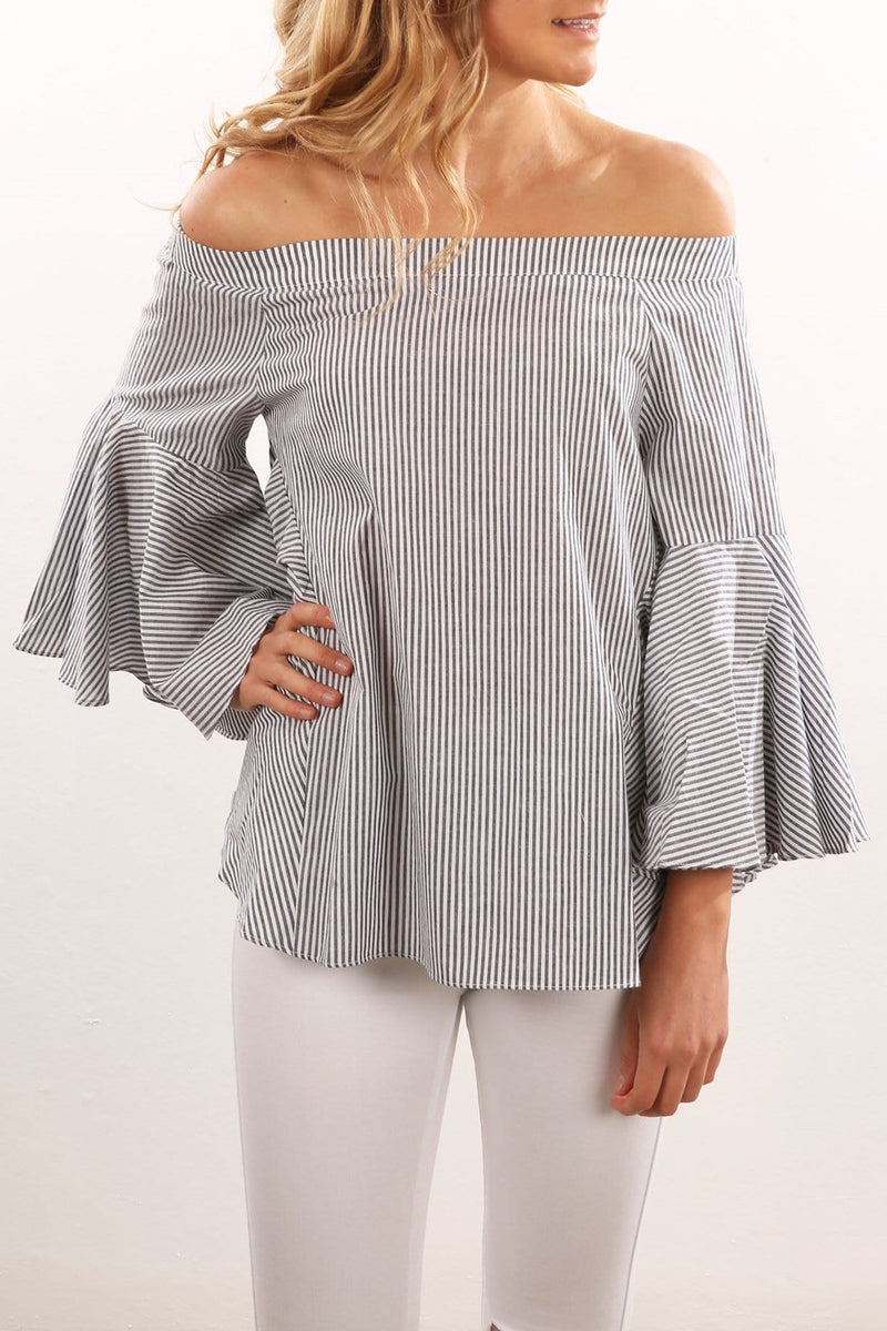 Elene Top Grey White Stripe