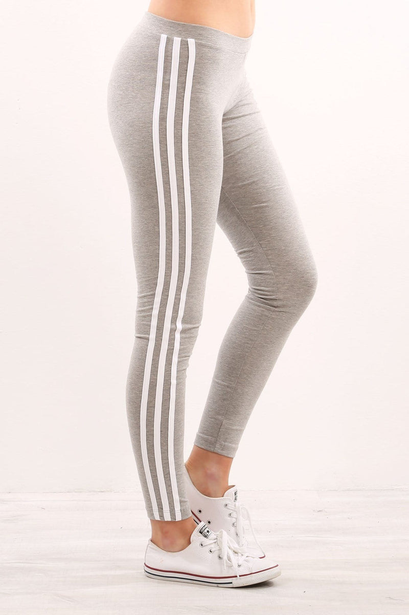 3 Stripe Leggings Medium Grey Heather adidas - Jean Jail