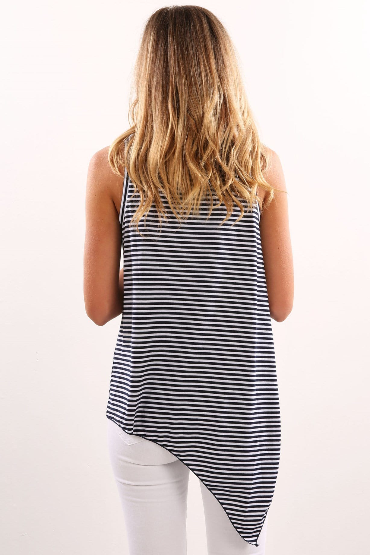 Asymmetric Top Navy Stripe