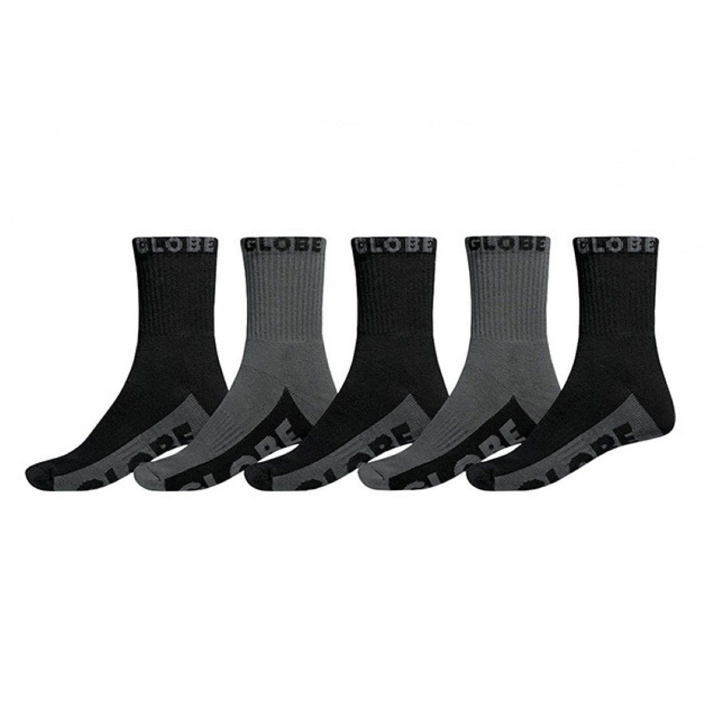 Crew Sock 5 Pack Black Grey