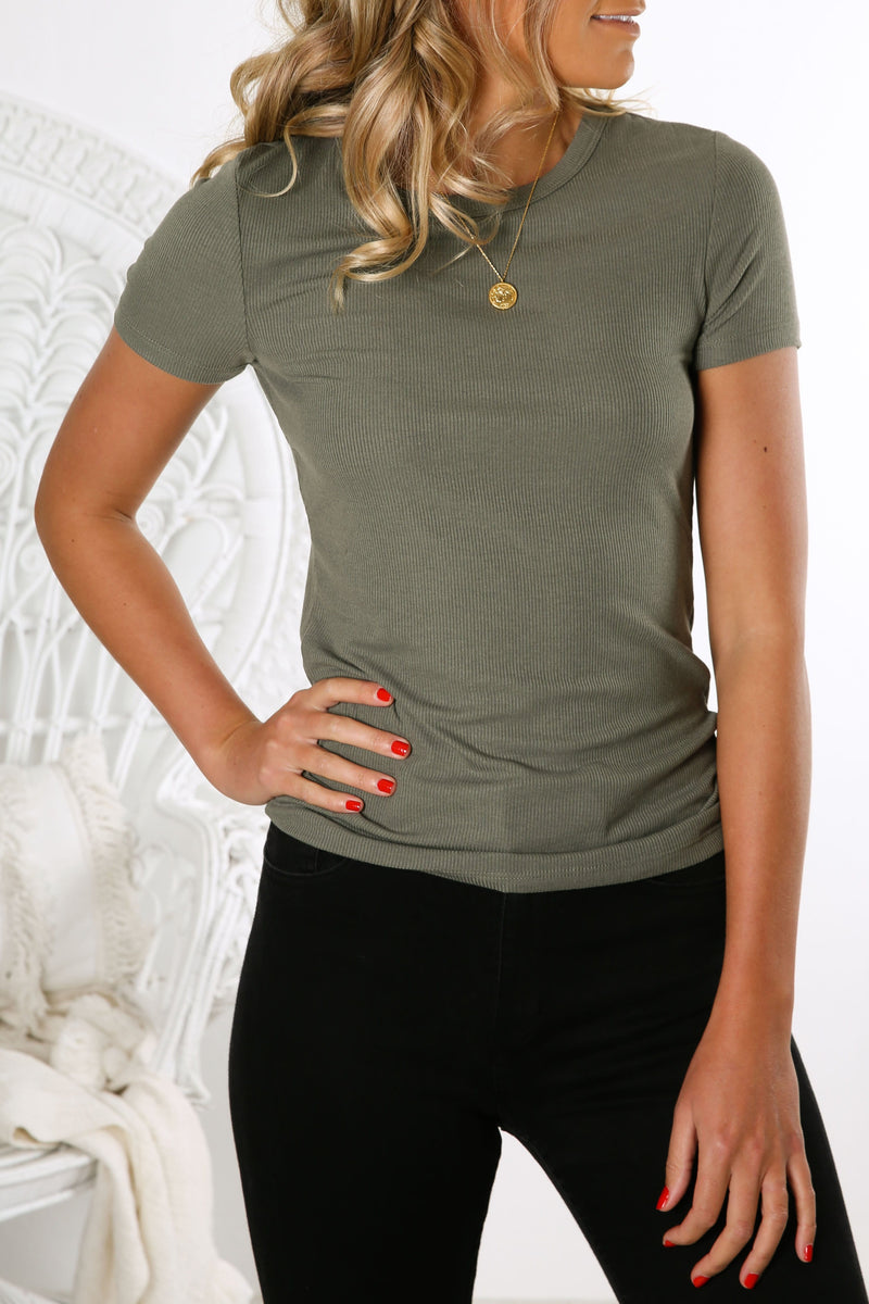 Ruby Rib Tee Khaki Betty Basics - Jean Jail