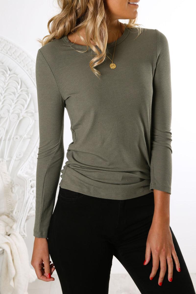 Holly Rib Long Sleeve Tee Khaki Betty Basics - Jean Jail