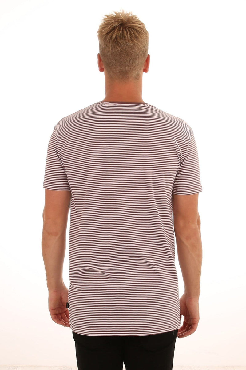 Stripe Pocket Tee Burgundy