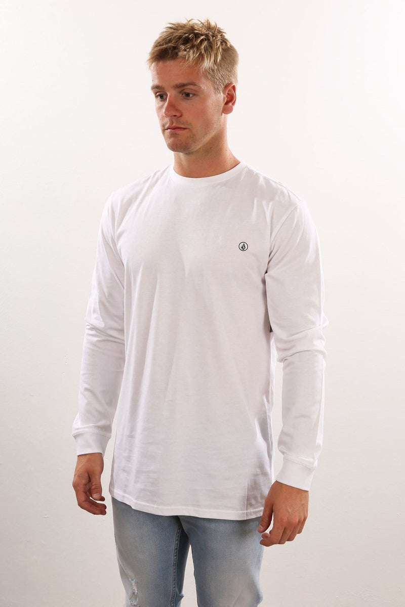 Solid Long Sleeve Tee White Volcom - Jean Jail