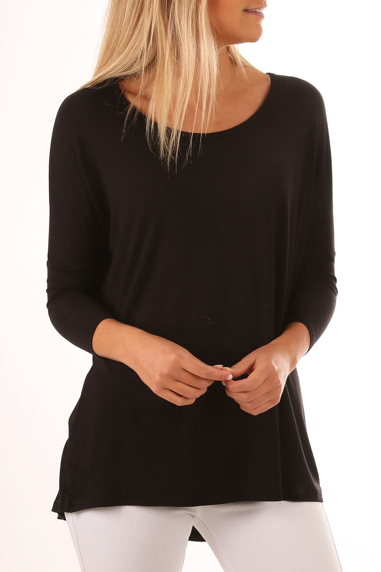 Milan 3/4 Sleeve Top Black