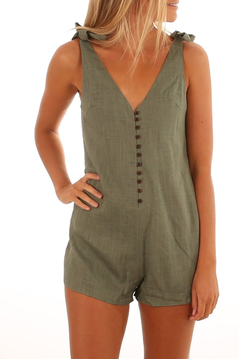 Tied To You Playsuit Khaki Jean Jail - Jean Jail