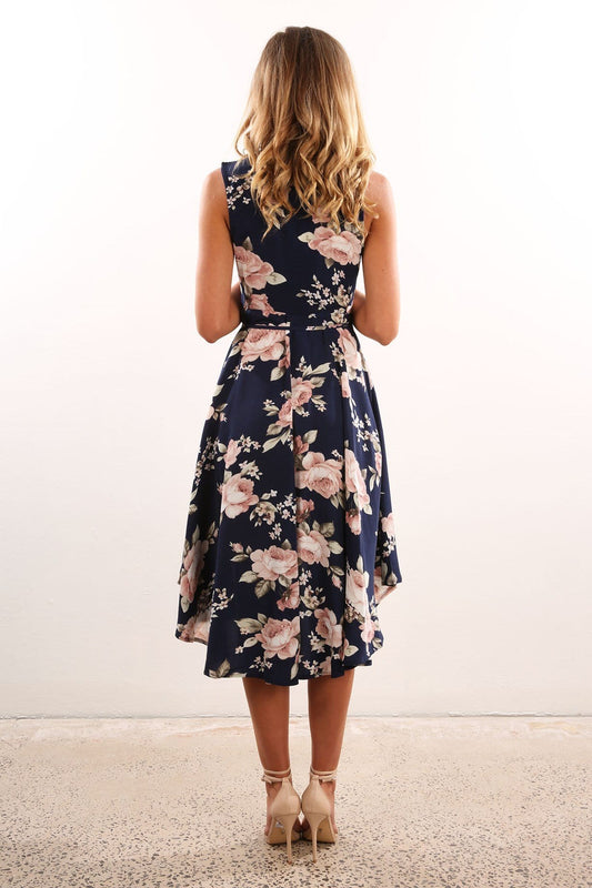 Alina Dress Navy Floral
