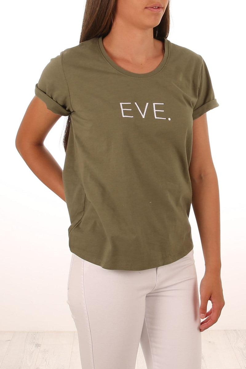 Eve Stamp Tee Khaki All About Eve - Jean Jail