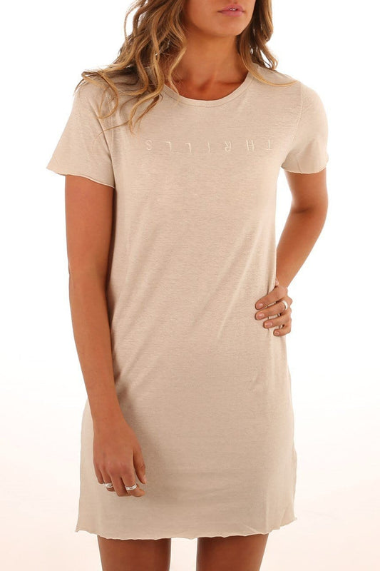 Classic Embroidered Tee Dress Vintage Bone