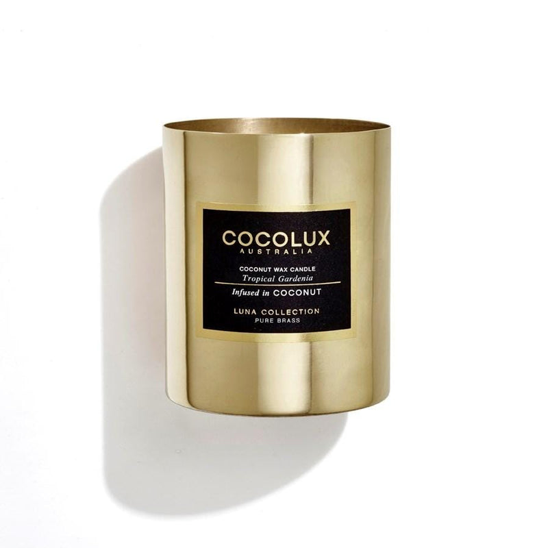 350G Luna Brass Candle Tropical Gardenia Jean Jail - Jean Jail