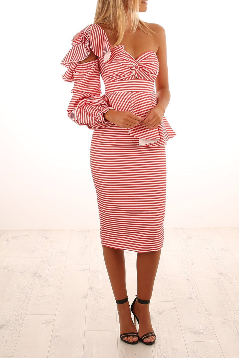 Epoch Stripe One Shoulder Dress Red White Stripe