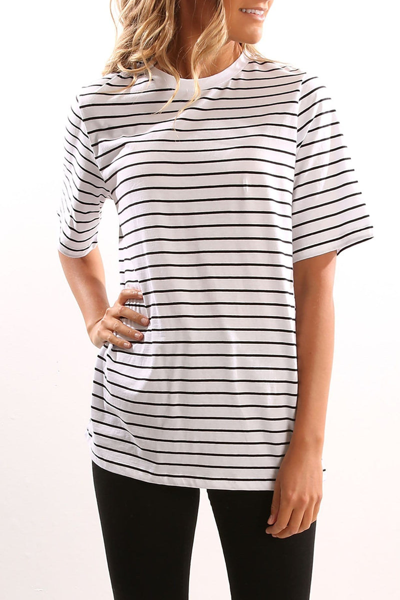 Around The World T-Shirt Black And White Stripe The Fifth Label - Jean Jail