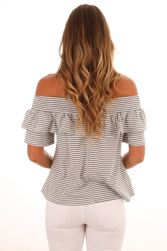 Hamilton Stripe Top Grey White Stripe