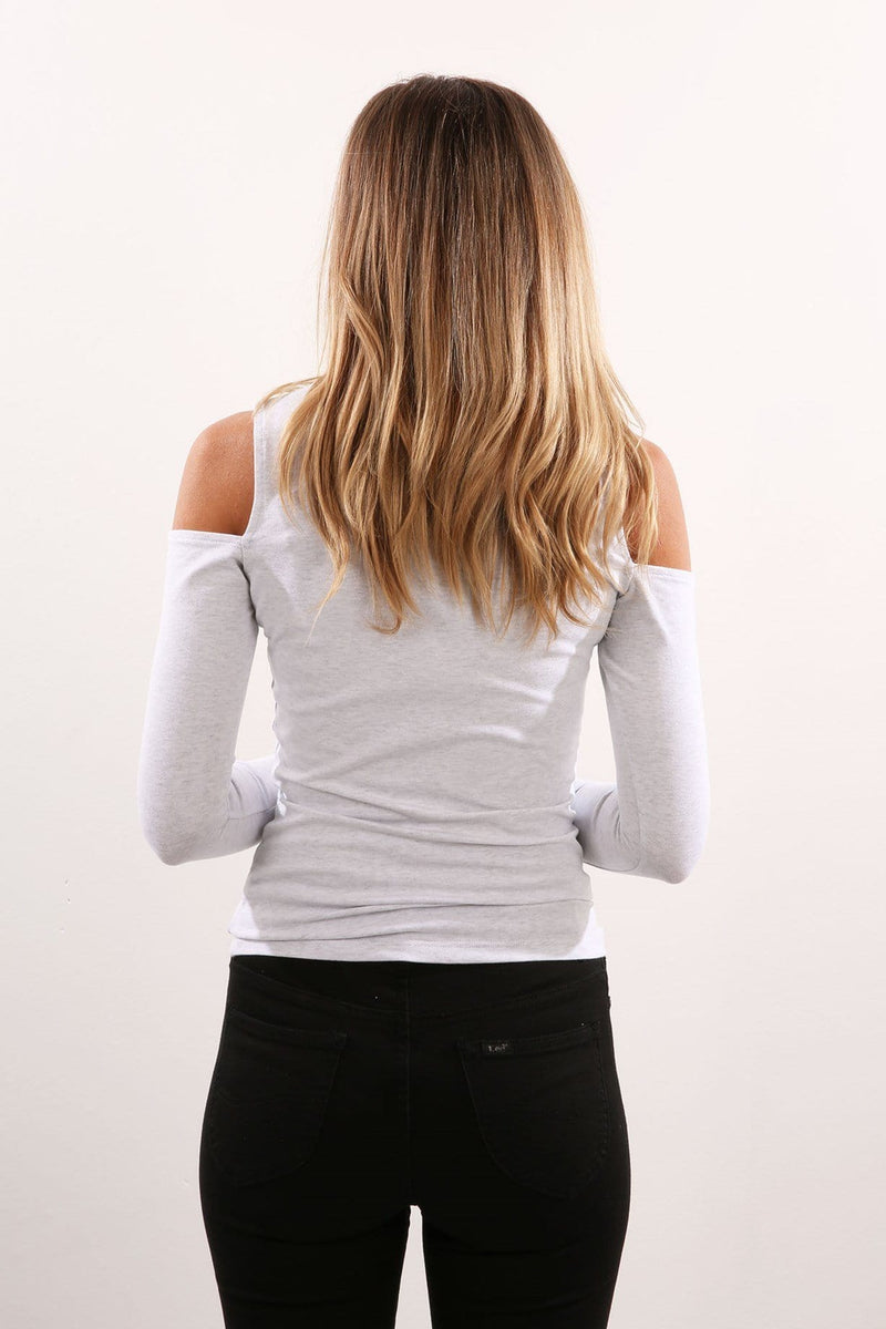 Whitby Cut Out Shoulder Long Sleeve Top Light Grey Marle