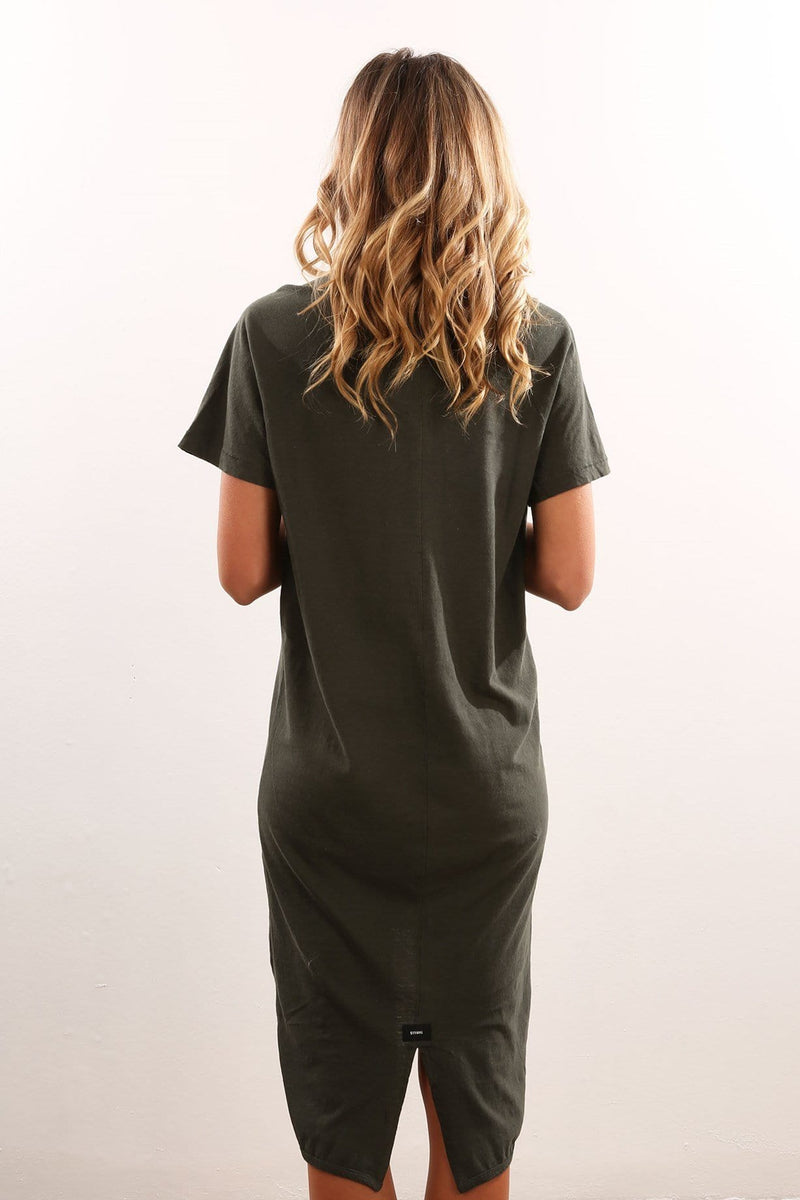 Sinatra Dress Overdye Olive Thrills - Jean Jail