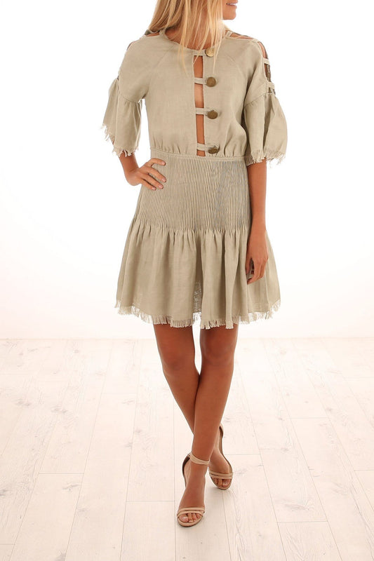 Castello Linen Mini Dress Sage