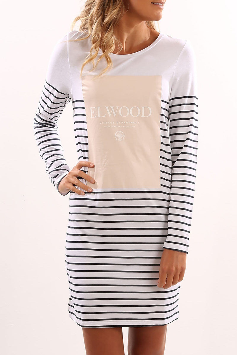 Mimi Longsleeve Dress Navy Stripe Elwood - Jean Jail