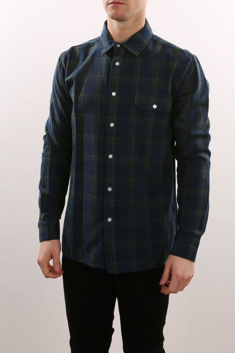 Ersal Long Sleeve Shirt Plaid Navy Afends - Jean Jail
