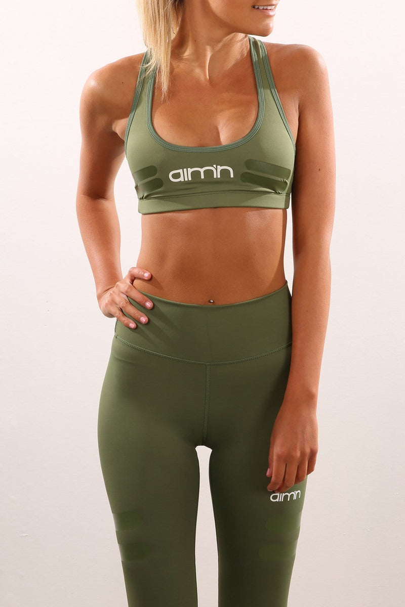 Tribe Logo Sports Bra Green Aimn - Jean Jail