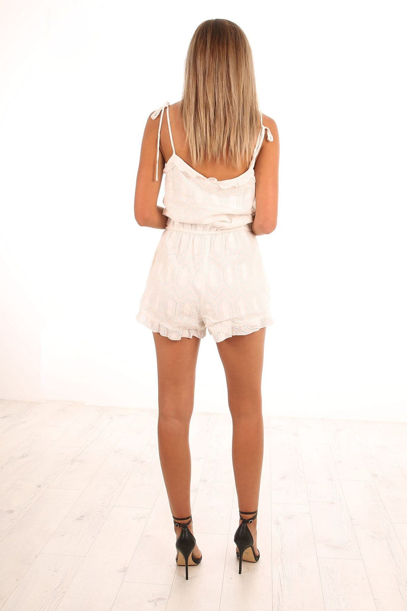 Lua Cotton Lace Playsuit Ivory Imonni - Jean Jail