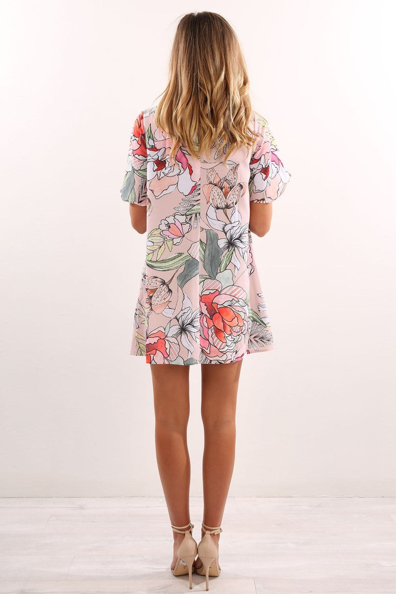 In Bloom Dress Peach Floral Jean Jail - Jean Jail