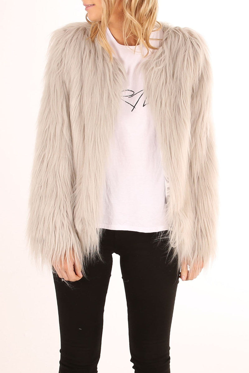 Marmont Faux Fur Jacket Grey Jean Jail - Jean Jail