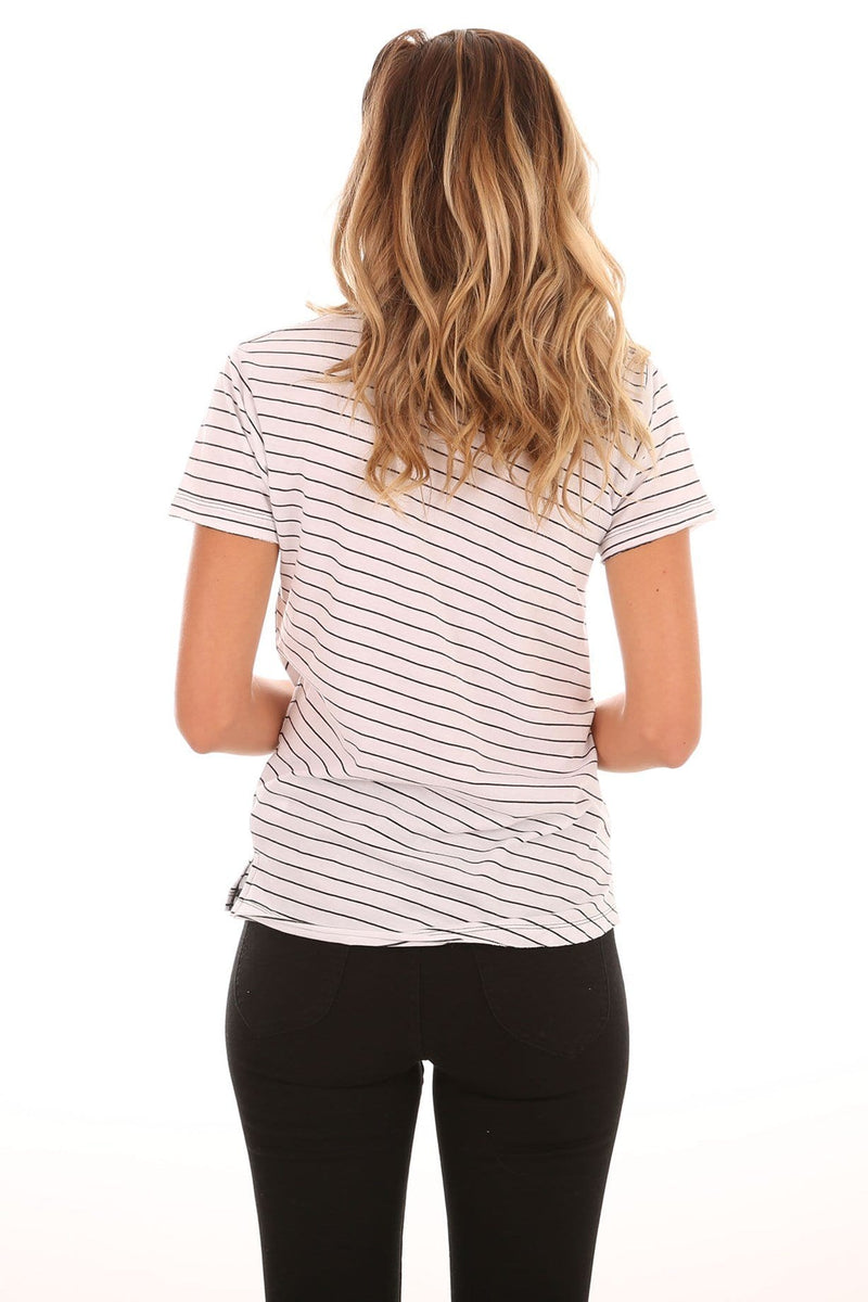 Ellipse Tee White Black Stripe Nude Lucy - Jean Jail
