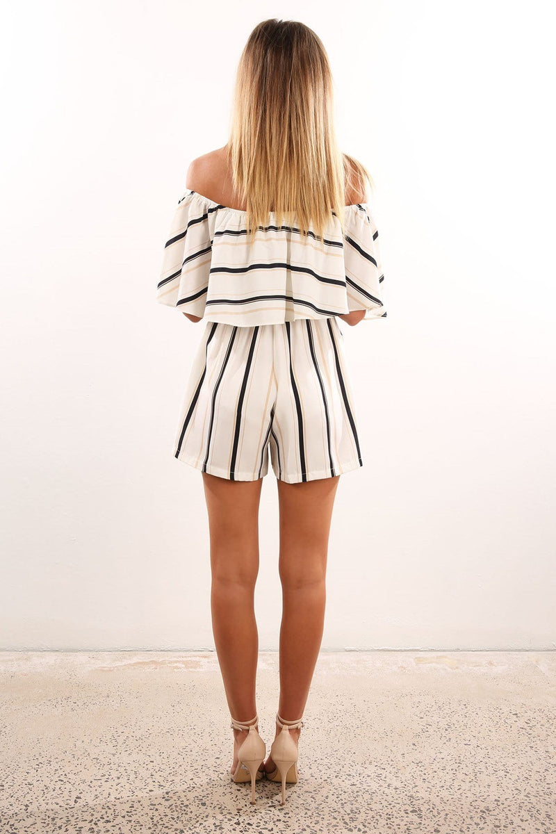Drop The Game Playsuit White Jean Jail - Jean Jail
