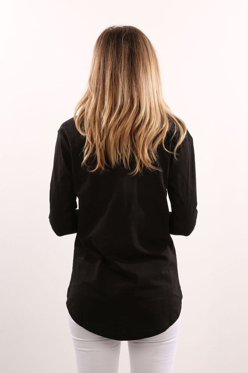 Rone Seam Twist Long Sleeve Top Black Nude Lucy - Jean Jail