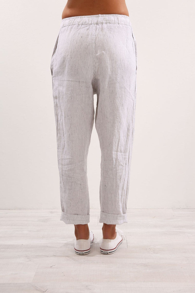 Anya Cotton Pant Outline Stripe White Assembly Label - Jean Jail
