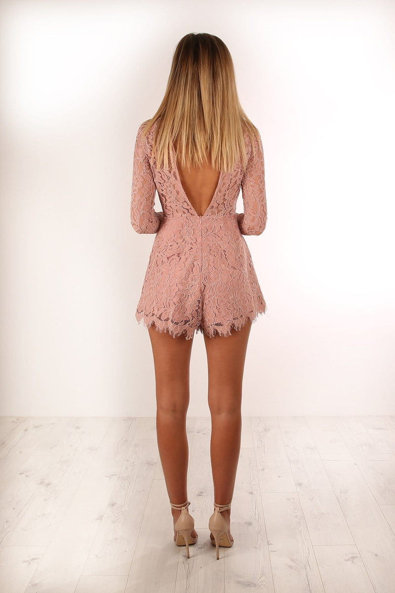 I Want Romance Playsuit Blush Jean Jail - Jean Jail