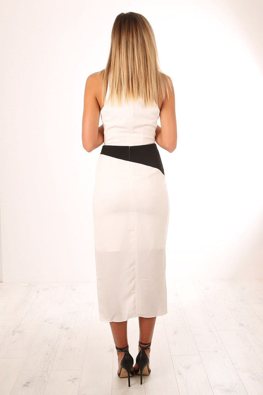 Claudia Drape Dress White Black