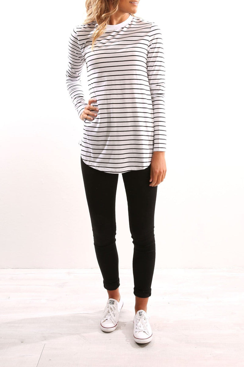 Around the World Long Sleeve Top Black And White Stripe