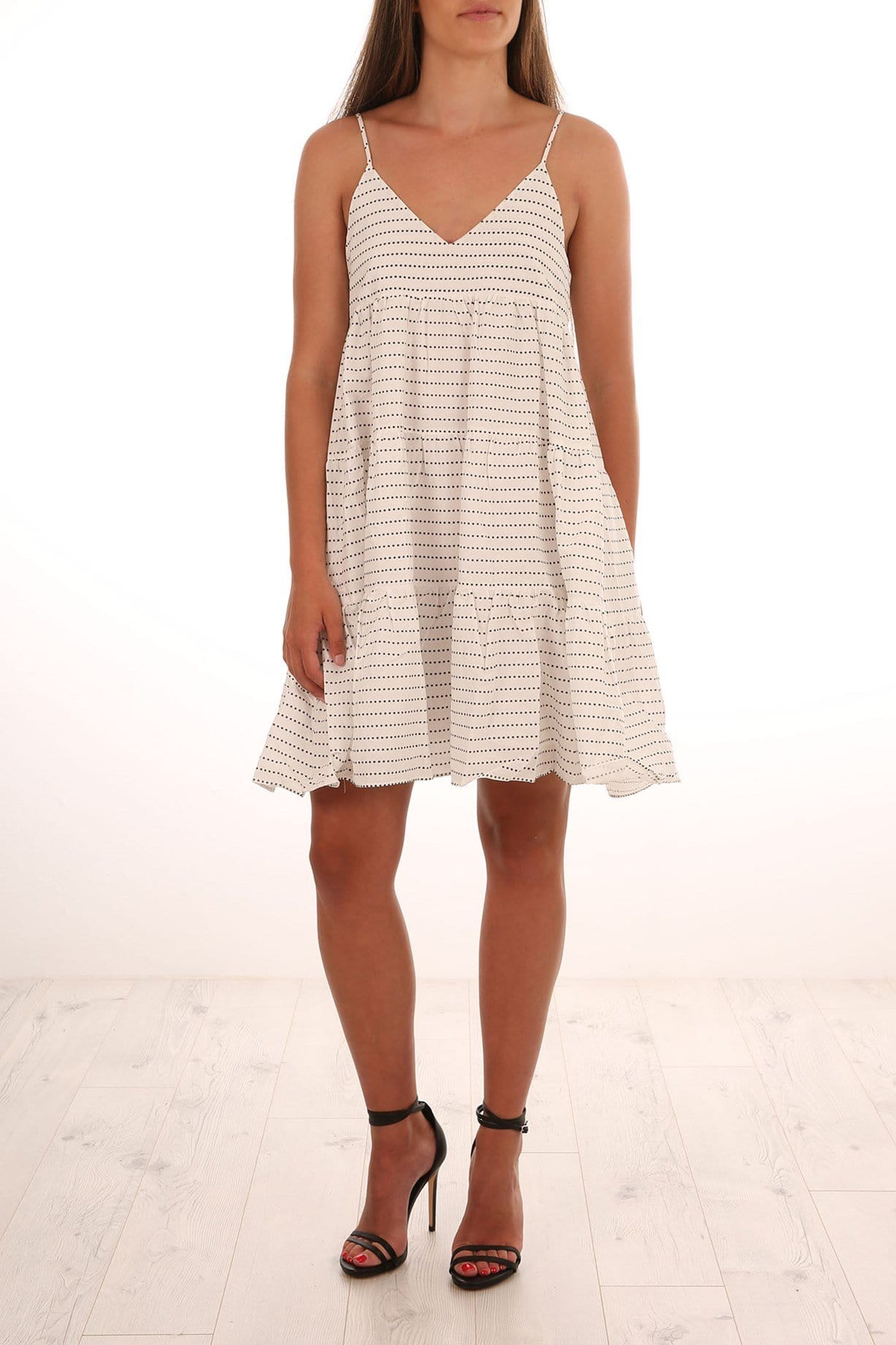 Iman Cotton Dress Ivory Black Star