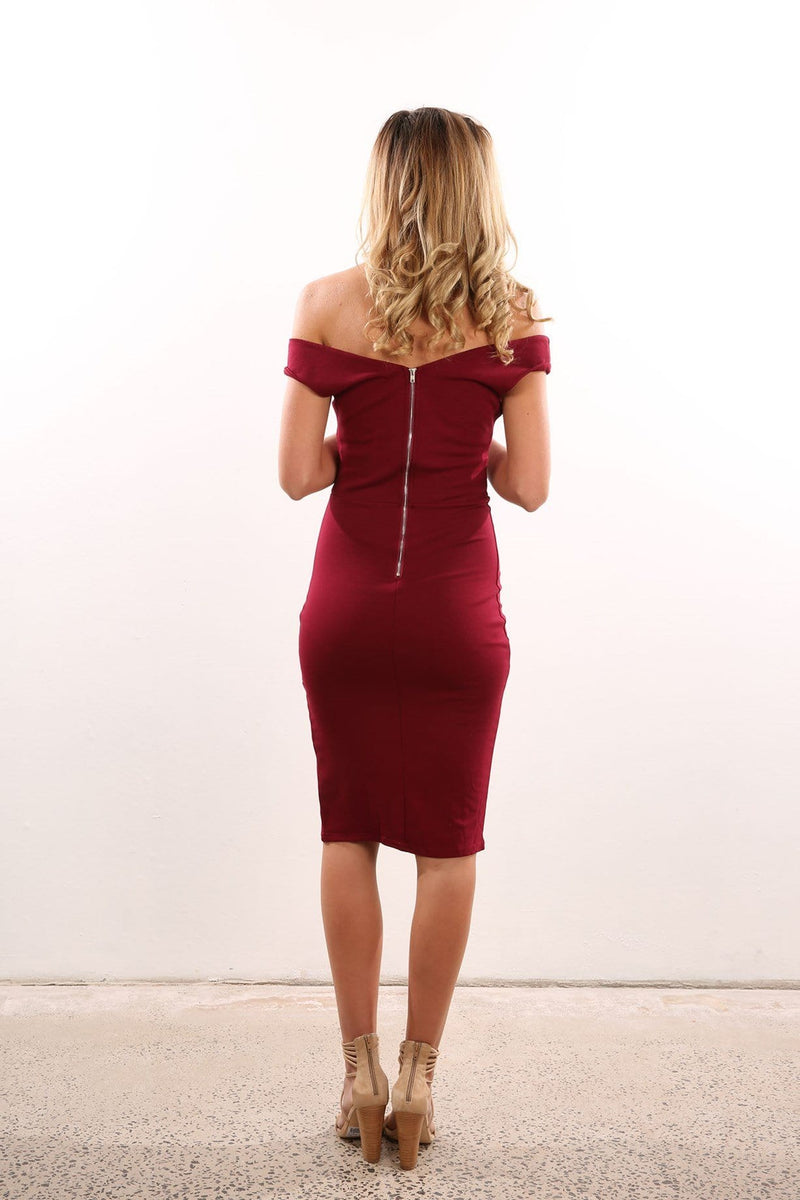 Counting Time Dress Burgundy Jean Jail - Jean Jail