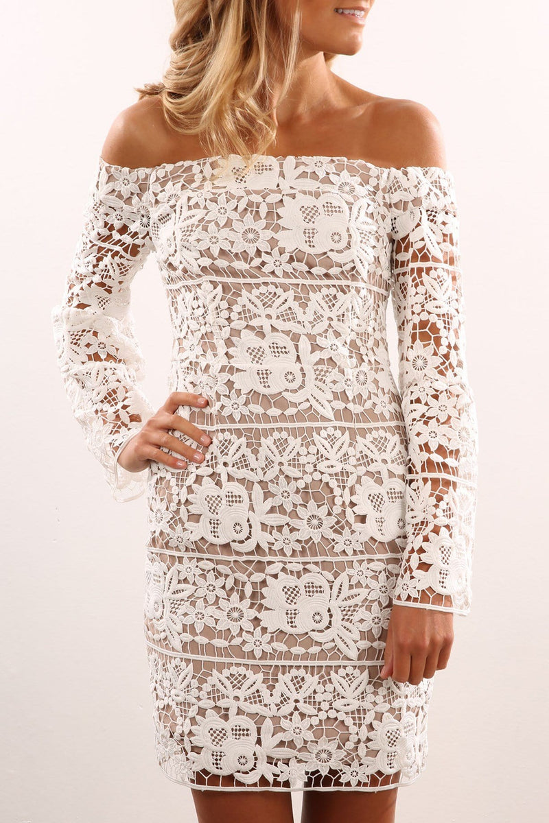 One Dance Off The Shoulder Dress Ivory Ministry Of Style - Jean Jail