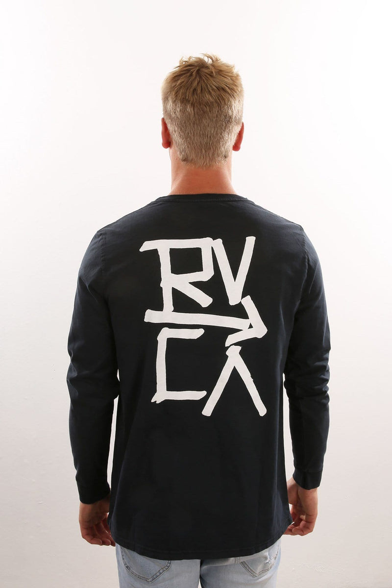 Down With RVCA Long Sleeve Tee Navy RVCA - Jean Jail