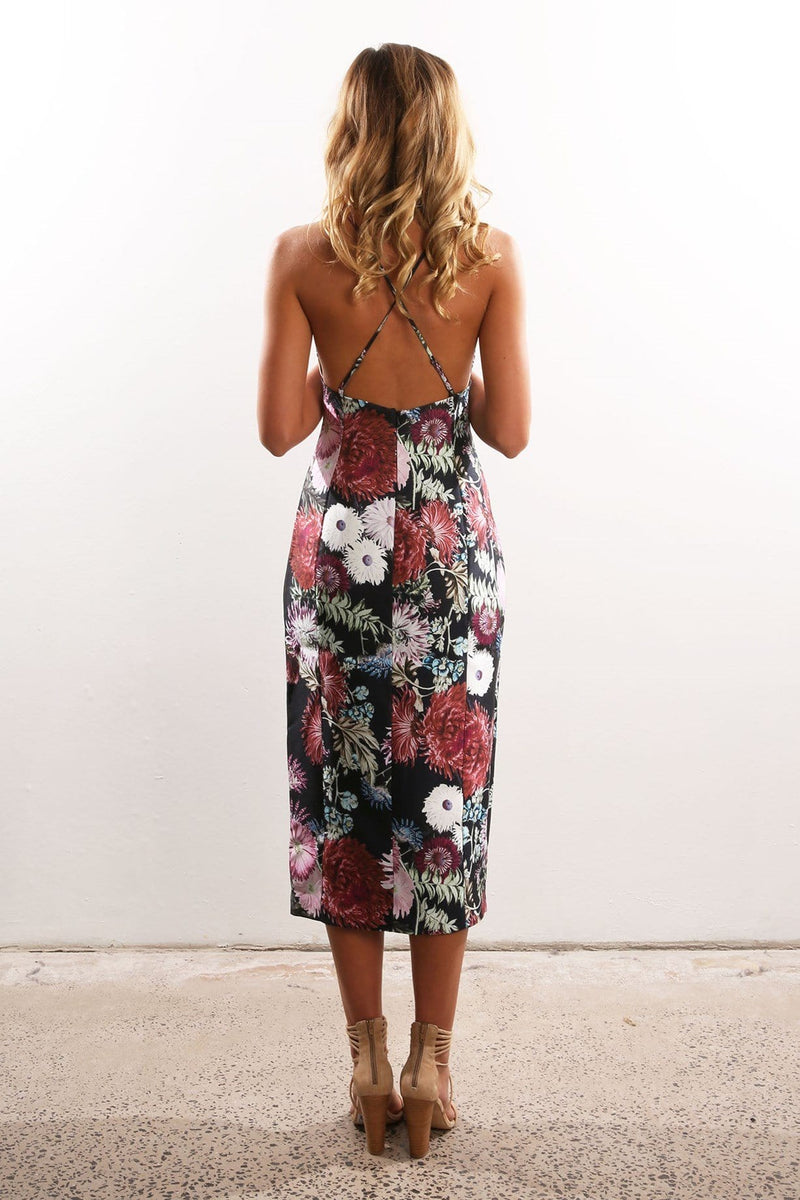 Billboard Dress Dark Floral Print Keepsake - Jean Jail