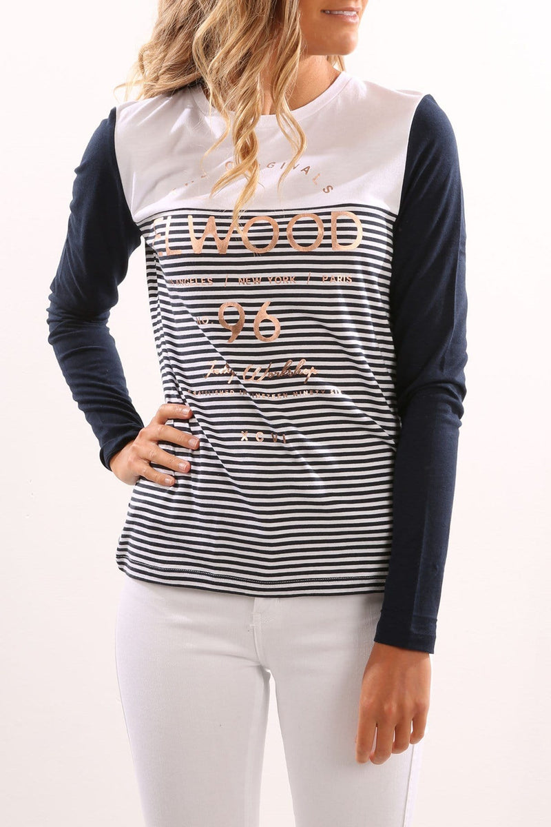 Aspect Long Sleeve Tee Navy Stripe Elwood - Jean Jail